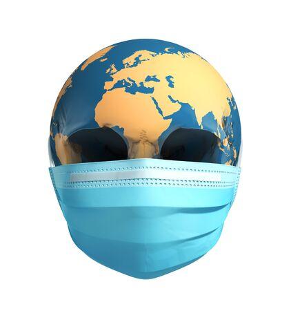 Skull Earth In Medical Mask. Concept Of Deadly Coronavirus Epidemic. Banco de Imagens