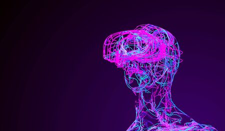 Man With Virtual Reality Glasses Consisting Of Tangled Colored Wires. Banco de Imagens