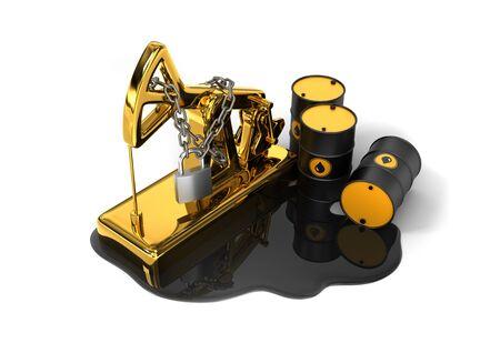 Locked Pumpjack, Barrels And Spilled Oil On White Background. Oil Production Reduction Concept. Reklamní fotografie