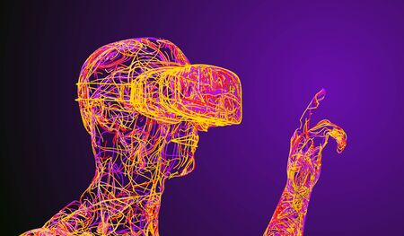 A Man In Virtual Reality Glasses Consisting Of Colored Wires. 3D Illustration.