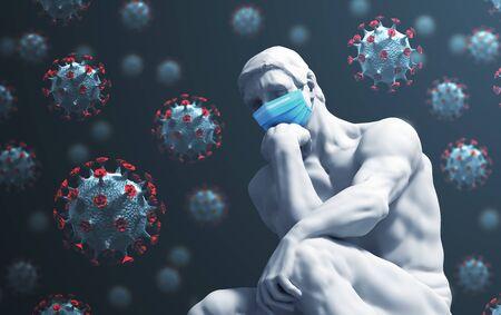 Sculpture Thinker In Medical Mask On Coronavirus Background Reklamní fotografie