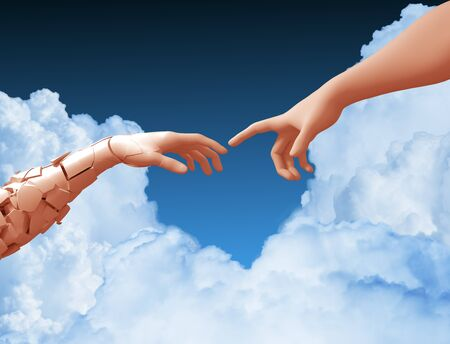 Two Hands And Clouds In The Blue Sky Create A Heart Shape Banco de Imagens
