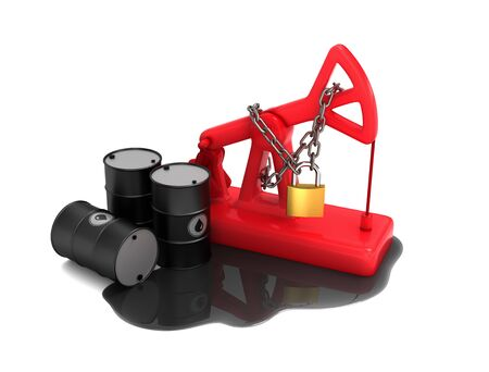 Locked Red Pumpjack, Barrels And Spilled Oil On White Background