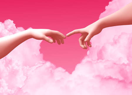 Two Hands And Clouds On Pink Background Create A Heart Shape