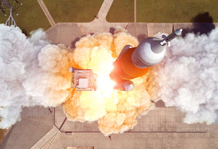 Launch Of Heavy Carrier Rocket Space Launch System . Aerial View. Banco de Imagens