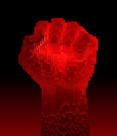 Red-Hot Fist Upward Consisting Of 3D Pixels