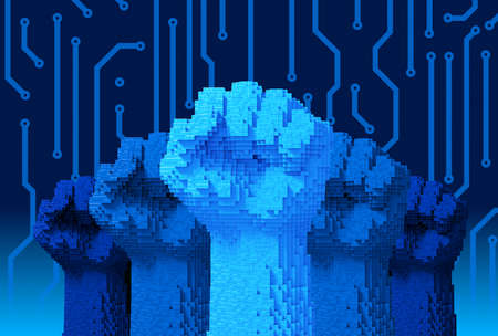 Five Fists Upwards Consisting Of 3D Pixels. Concept Of Technology Revolution. Archivio Fotografico - 150877445