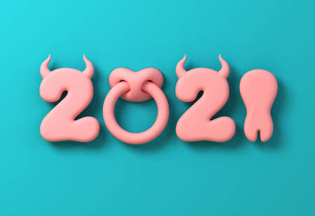 2021 With Numbers As Bull Horns, Hoof And Nose Ring On Blue Background. Concept Of Chinese New Year Of The Ox.