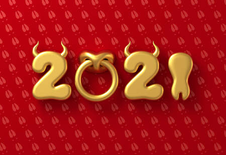 2021 With Numbers As Bull Horns, Hoof And Nose Ring On Red Background. Concept Of Chinese New Year Of The Ox. Banco de Imagens