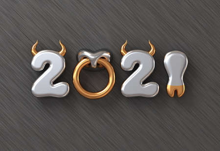 2021 With Numbers As Bull Horns, Hoof And Nose Ring On Metal Background. Concept Of Chinese New Year Of The Ox.