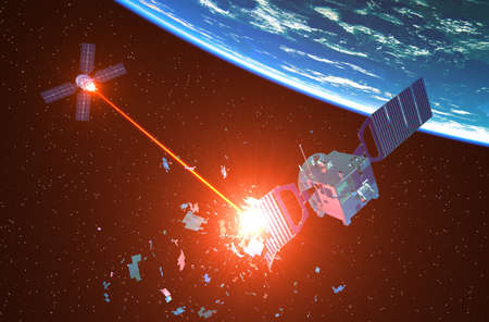 Military Spaceship Shoots Down An Enemy Satellite With A Laser Beam