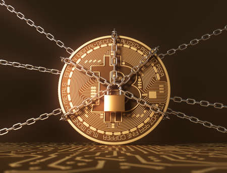 Locked Bitcoin With Chains On Printed Circuit Board