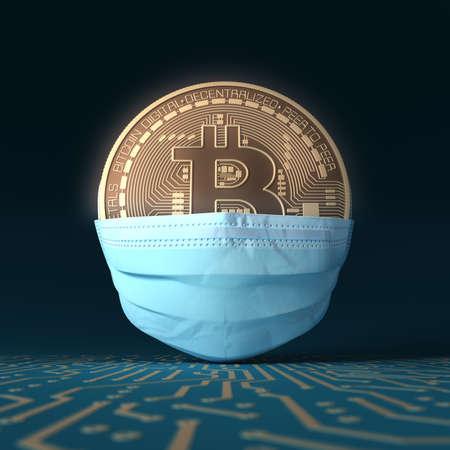 Virtual Coin Bitcoin On Medical Mask. Concept Of Bitcoin Protection. Banco de Imagens