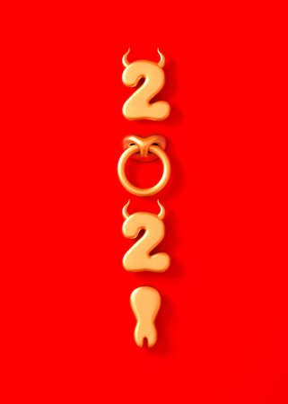 2021 With Golden Numbers As Bull Horns, Hoof And Nose Ring On Red Background. Concept Of Chinese New Year Of The Ox.