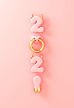 2021 With Numbers As Golden Bull Horns, Hoof And Nose Ring On Pink Background. Concept Of Chinese New Year Of The Ox. Banco de Imagens