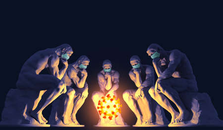 Five thinkers wearing medical masks sit in front of the coronavirus symbol and ponder a solution to the problem