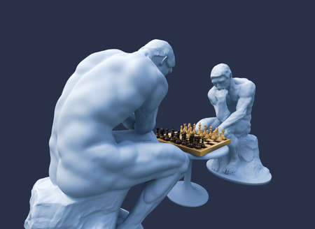 Two Thinkers Pondering The Chess Game On Blue Background