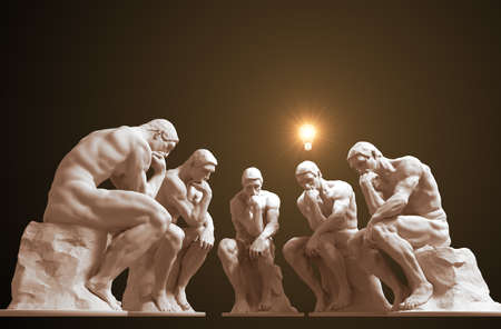 Five thinkers and one of them has a glowing light bulb above his head as a symbol of a new idea
