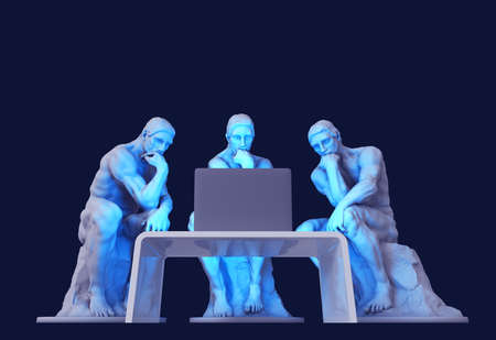 Three Thinkers Sitting In Front Of A Computer Screen