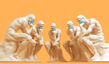 Five thinkers in medical masks ponder a solution to a problem Reklamní fotografie