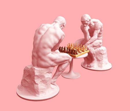 Two Thinkers Pondering The Chess Game On Pink Background