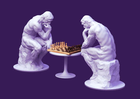 Two Thinkers Pondering The Chess Game On Purple Background