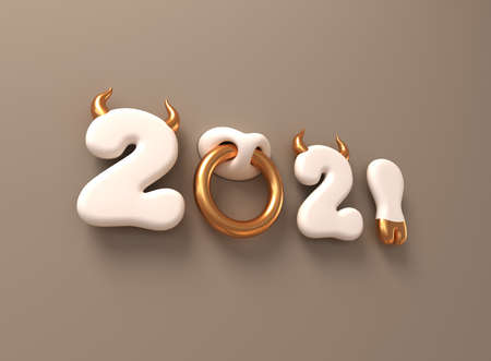 2021 With White Numbers As Bull Horns, Hoof And Nose Ring On Brown Background. Concept Of Chinese New Year Of The Ox. Reklamní fotografie