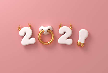 2021 With White Numbers As Bull Horns, Hoof And Nose Ring On Pink Background. Concept Of Chinese New Year Of The Ox.