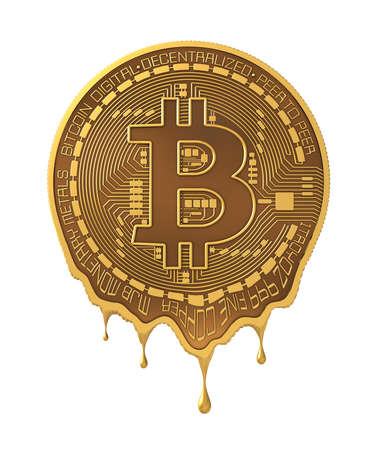 Molten virtual coin bitcoin isolated on white background