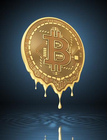 Molten virtual coin bitcoin on blue background Reklamní fotografie