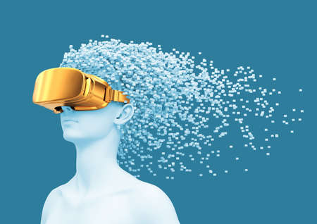 Young Woman Wearing Gold VR Glasses And 3D Pixels As Hair Reklamní fotografie