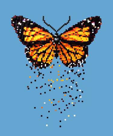 3D pixel art orange butterfly on blue background