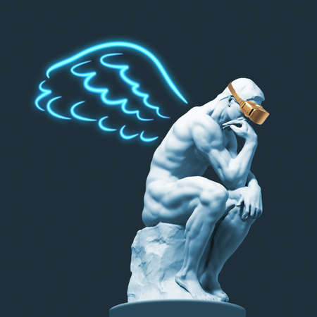 Sculpture of a thinker with VR glasses and painted wings behind his back