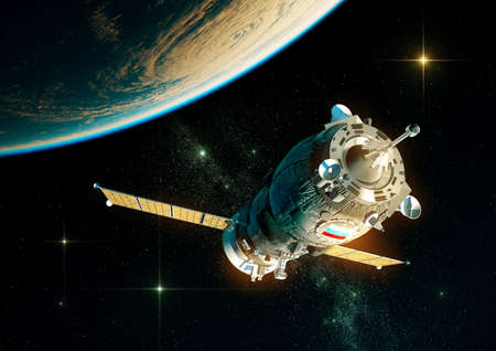 Russian Cargo Spacecraft Orbiting Planet Earth