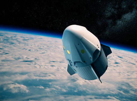 New Commercial Spacecraft Above Clouds