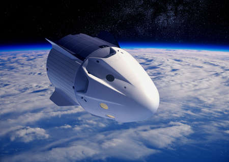 Commercial Crew Spacecraft Orbiting Blue Planet Earth. Reklamní fotografie