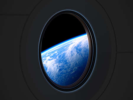 Amazing View Of Planet Earth From The Porthole Of A Private Spacecraft Reklamní fotografie