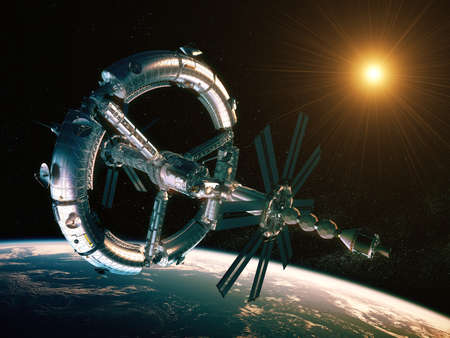 New Futuristic Space Station Orbiting Planet Earth