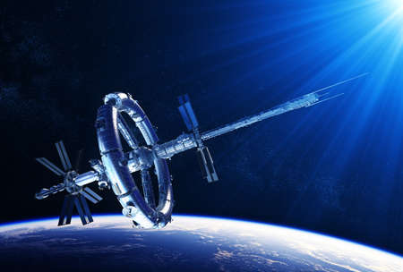 Futuristic Space Station In The Rays Of Blue Light