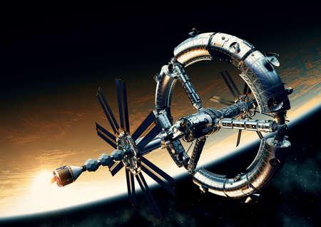 Futuristic Big Space Station Orbiting Yellow Planet
