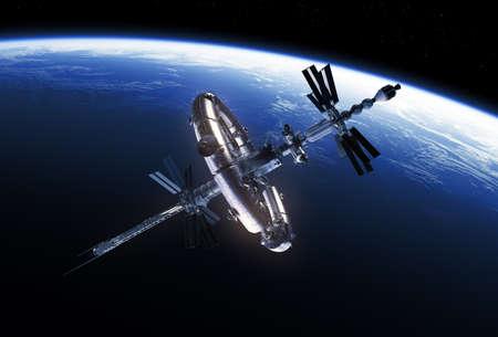 Big Space Station Orbiting Blue Planet Earth Reklamní fotografie