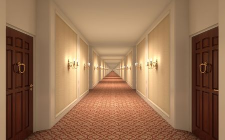 3D rendering of a hotel corridor Stock Photo