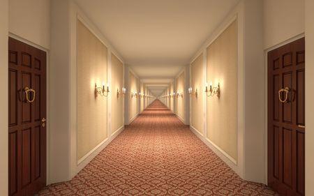 3D rendering of a hotel corridor Stock Photo