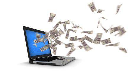 Internet Money - 100 Dollar Bills Stock Photo
