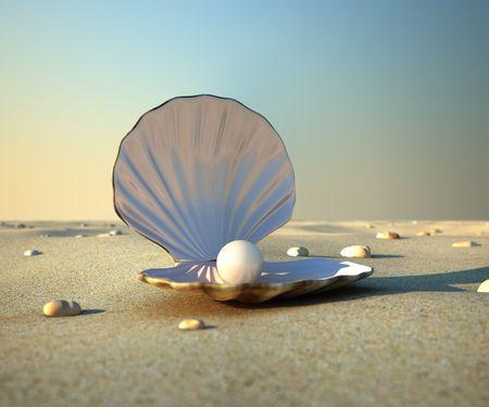 ostra: Una concha de mar abierto con un interior de perla.