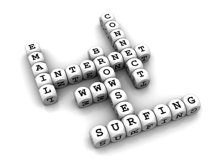 3D dices forming a crossword puzzle with internet related words.