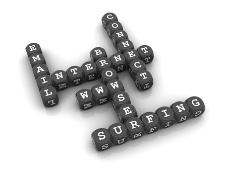 3D dices forming a crossword puzzle with internet related words. Stock Photo - 19525173