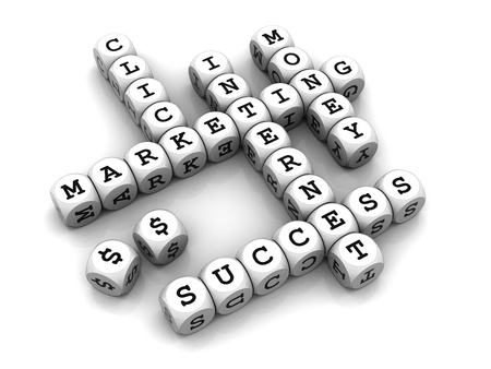 3D dices forming a crossword puzzle with internet marketing related words.