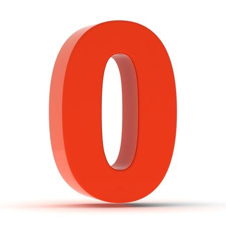 The number zero - red plastic