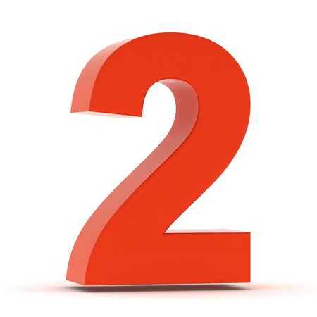 The number two - red plastic Stock Photo